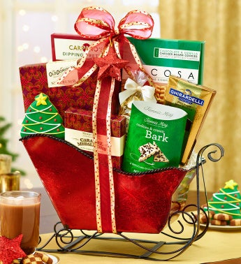 Festive Red Holiday Sleigh Gift Basket