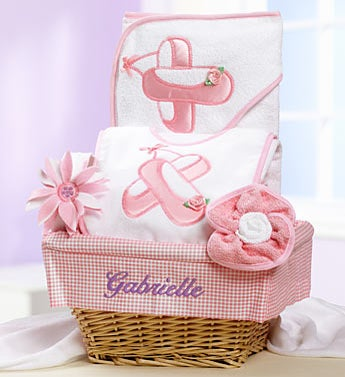 Personalized New Baby Girl Ballet Dancer Gift Basket