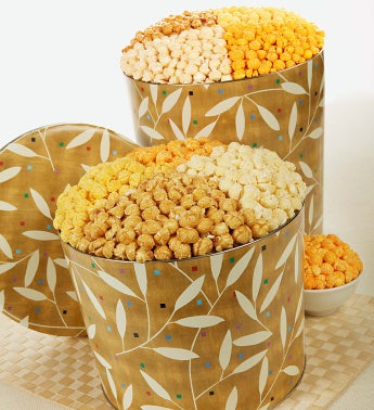 The Popcorn Factory® Leaves on Gold Popcorn Tin