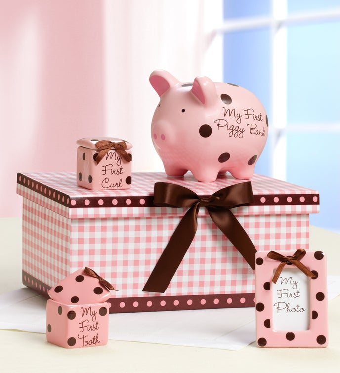 Classic Pink Baby's Firsts Keepsakes Set