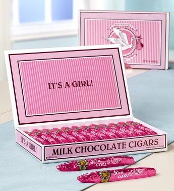 It's A Girl Milk Chocolate Cigars in Classic Box