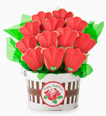 Cheryl's Birthday Rose Cookie Flower Pot