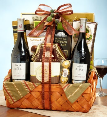 Rhone Valley 2 Bottle French Wine Gift Basket