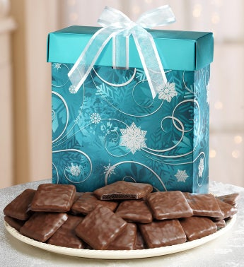 Rich Fudge Mint Cookies in a Shimmering Blue Box