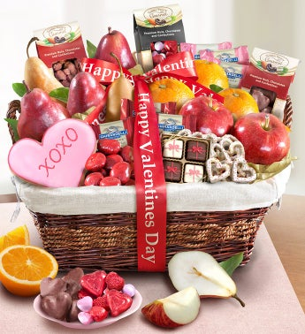 Happy Valentine''s Day Deluxe Fruit & Sweets Basket