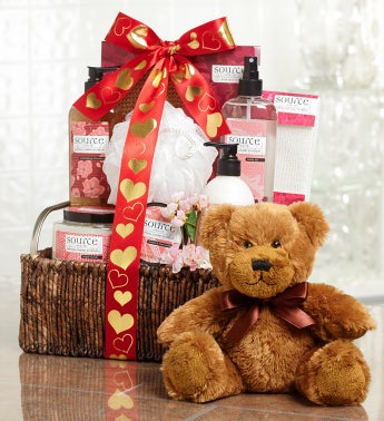 Valentine Cherry Blossom Basket and Free Teddy