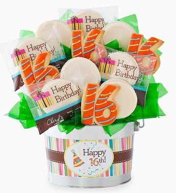 Chery's Happy 16th Birthday Cookie Flower Pot