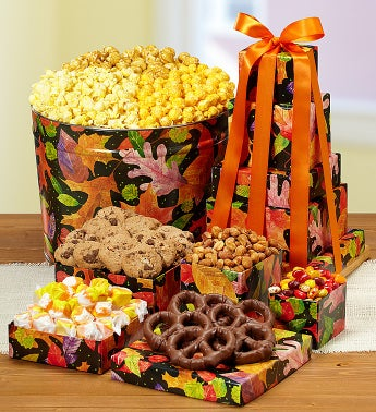 The Popcorn Factory® Fall Colors Tin & Tower