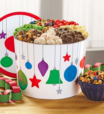 Popcorn Jewel Ornaments 7-way Snack Tin