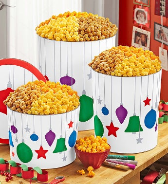 Popcorn Jewel Ornament 3 Way Tin