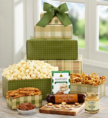 Mad About Plaid Gourmet Snacks tower