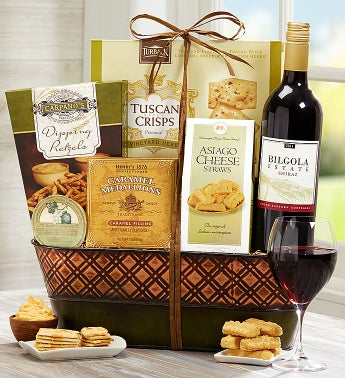 Premium Red Wine & Gourmet Gift Basket