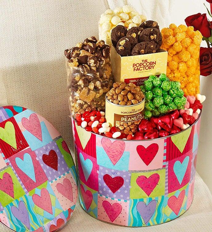 Popcorn Heart Deco Snack Asst. Tin