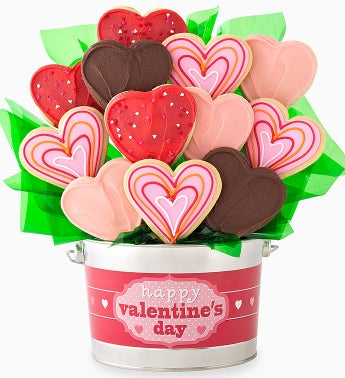 Cheryl's Hearts Cookie Flower Pot-9ct