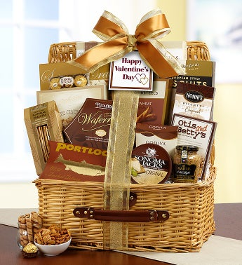 Bountiful Love Valentine Gourmet Hamper Basket