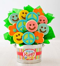 Cheryl's Happy Face Cookie Flower Pot - 12ct