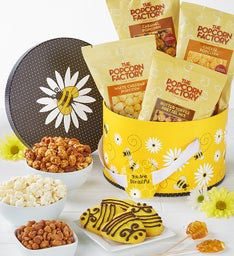 Popcorn Factory Let It Bee Hat Box with Snacks
