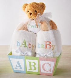 Celebrate Twins! Blanket Duo Basket