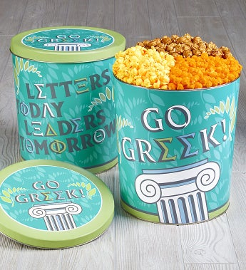The Popcorn Factory Greek Life 3 Way Popcorn Tin