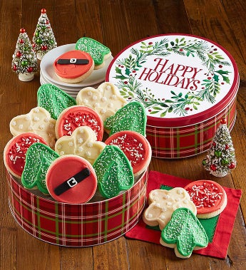 Cheryl's Happy Holidays Cut-Out Cookies Tin