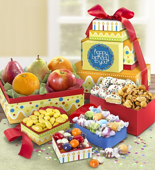 Happy Birthday Fresh Fruit & Sweets Tower