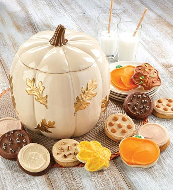 Cheryl's Cream & Gold Pumpkin Cookie Jar