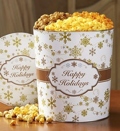 The Popcorn Factory Gold Snowflake 3 Way Tin