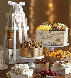 The Popcorn Factory Gold Snowflake Tower