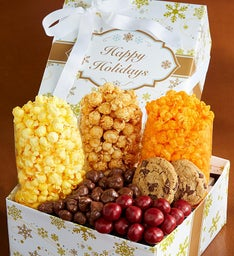The Popcorn Factory Gold Snowflake Snack Box