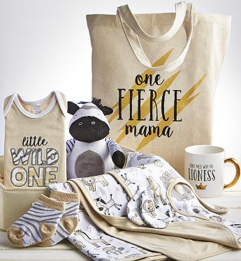 Sweet Safari 9 pc Mom & Baby Gift Basket