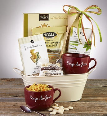 Soup's On Basket with Soup Du Jour Mug