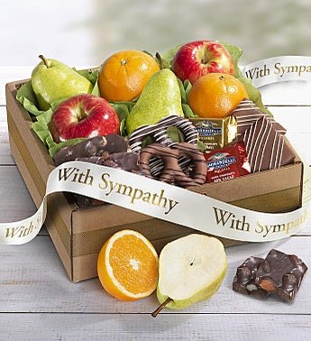 With Sincere Sympathy Fruit & Sweets Box