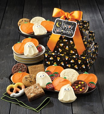 Cheryl's Candy Corn Halloween Gift Tower
