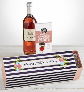 Mothers Day Ros Wine and Chocolate Gift Box