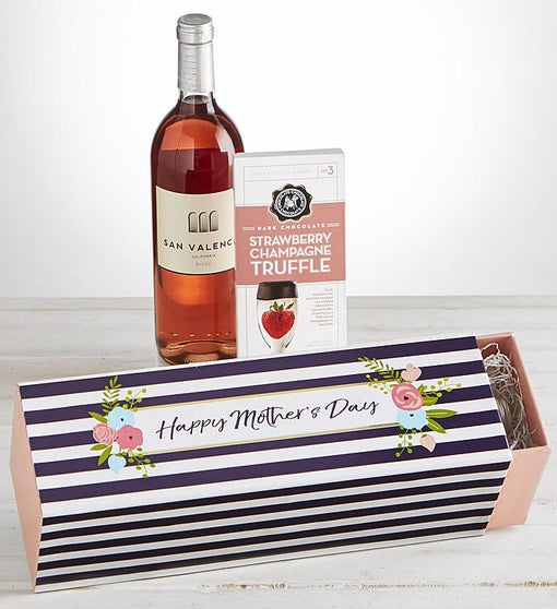 Mother's Day Rose Wine and Chocolate Gift Box