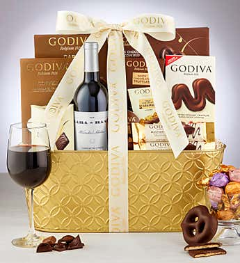 Godiva® Decadence Gift Basket with Wine