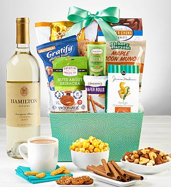 Snacks & Sweets Gift Basket with Wine