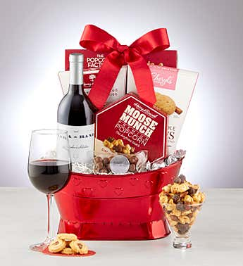 True Love Gift Basket w/Wine