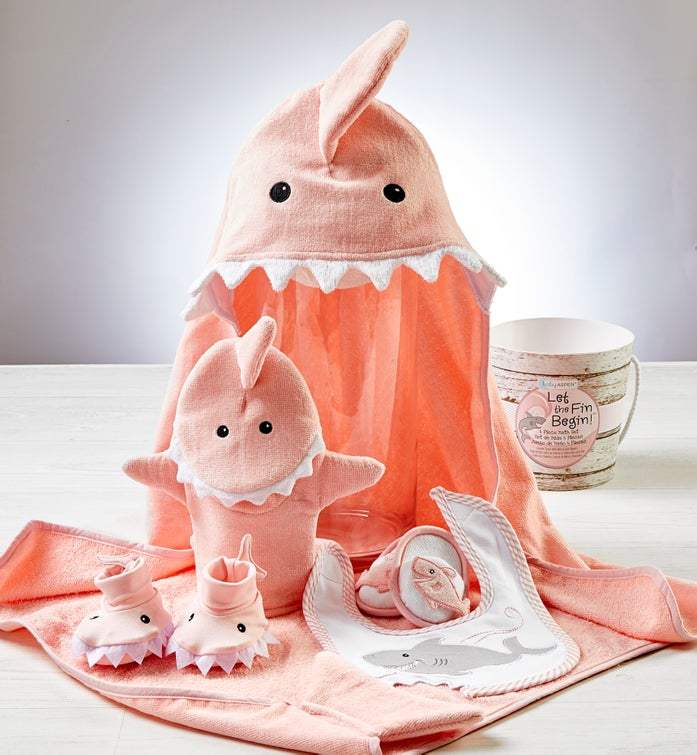 Let the Fin Begin Pink Shark Bath time Gift Set