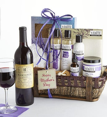 Mothers Day Lavender Spa Basket with Wine