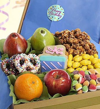 Happy Birthday Fruit & Sweets Box