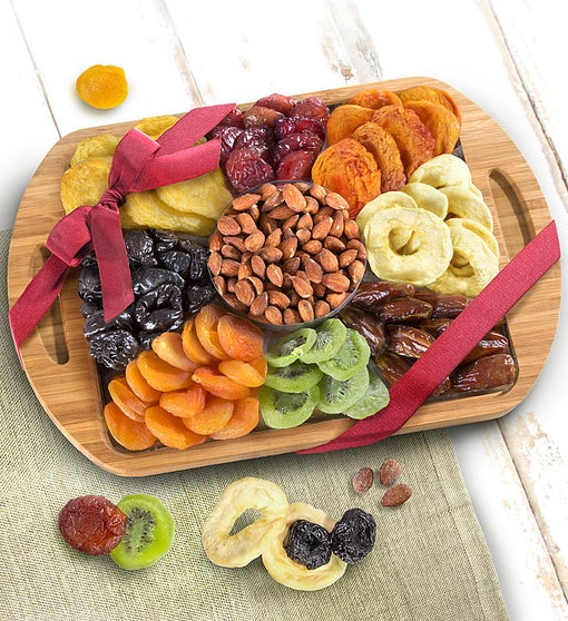 Natural Bamboo Handled Tray with Fruits & Nuts