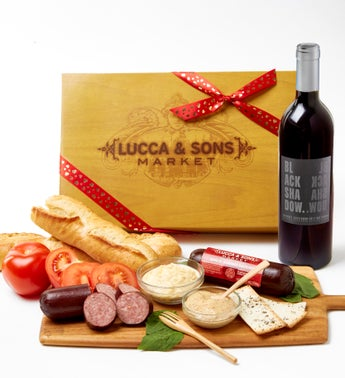 Valentine Sausage & Cheese Box with Red Wine