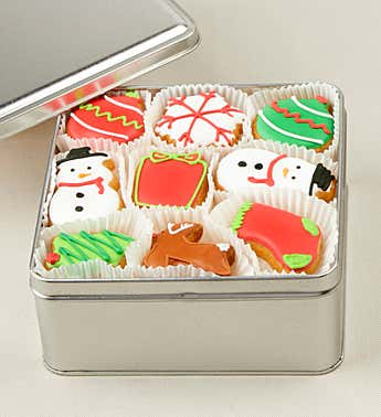 Holiday Party Mini Artisan Iced Cookie Tin 27pc