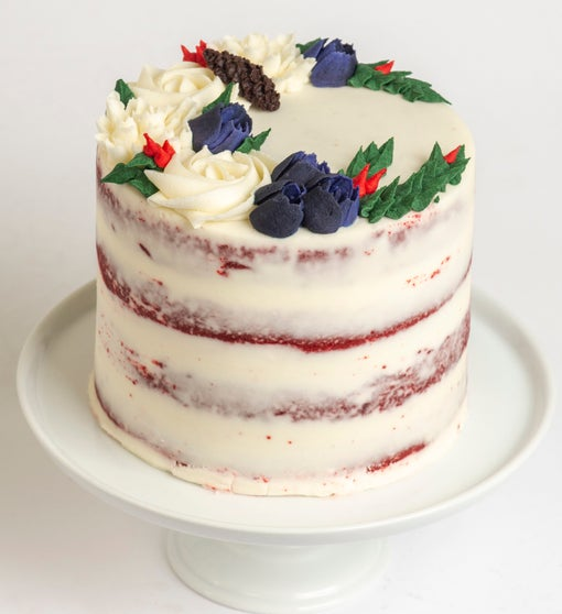 Festive Holiday 4 Layer Red Velvet Cake