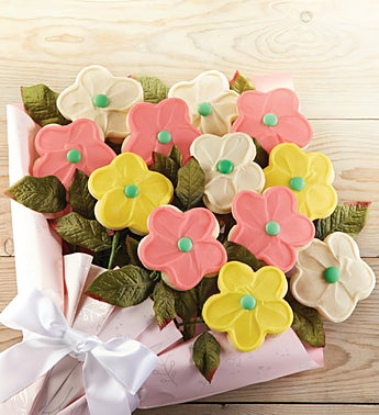 Cheryl's Buttercream Frosted Long Stemmed Cookie Flowers