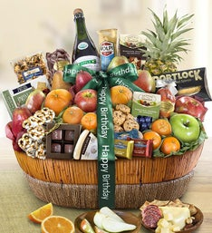 Happy Birthday Fruit Sweets Gift Basket Grande