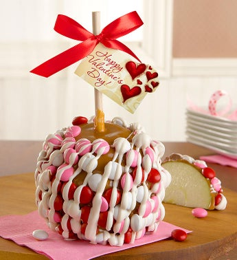 Valentines Day Caramel Apple with Candies