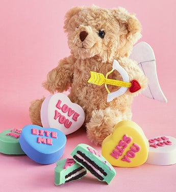 Conversation Heart Oreo Cookies With Cupid Bear