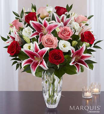 Marquis by Waterford Blushing Rose  Lily Bouquet